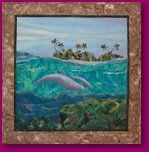 Dolphins Swimming Image of Fabric Art