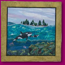 Orcas in Fabric Art Quilt Image