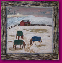 Horses Feeding in Winter Fabric Art Image