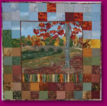 Quilted Scene of Burnside Bridge Fabric Art Quilting Textile