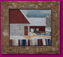 Cold December Day Fabric Art Quilt Scene