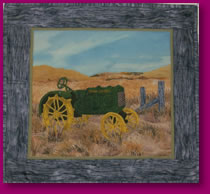 Nothing Runs Like A Deere Scene of John Deere Tractor in Quilted Fabric Art