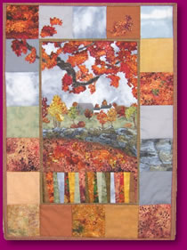 Quilted View of Old Stone Hedge Fabric Art