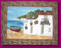 A Quiet Afternoon Scene Done in Quilted Applique Fabric Art