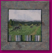Silent Sentinels Civil War Old Cannons Scene in Fabric Art Quilt