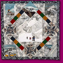 Mount Everest Quilted Fabric Art Wall Hanging